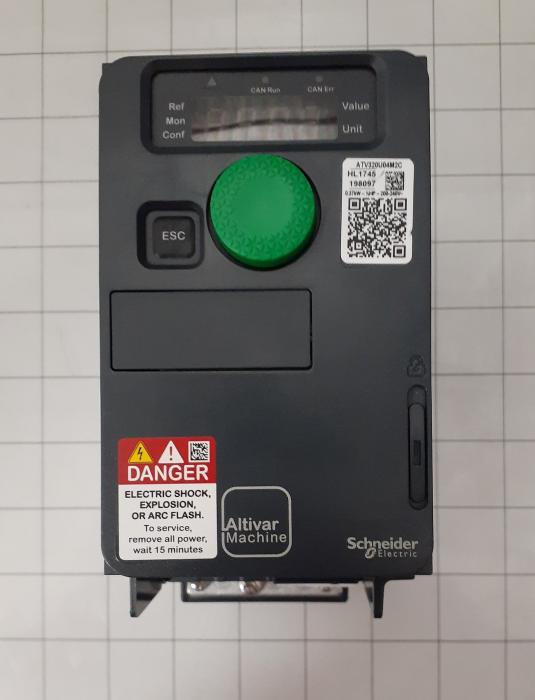 AC Drive, VFD, ATV320 Series, 0.37KW (1/2HP), 200-240VAC, 1 Phase, IO, CAN Open, Modbus