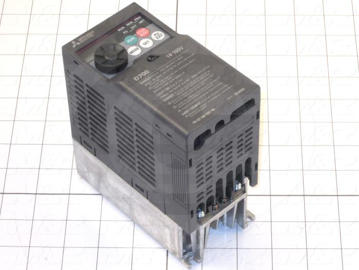 AC Drive, VFD, D700 Series, 0.37KW (1/2HP), 110VAC, 1 Phase, 230VAC Output, 3 Phase