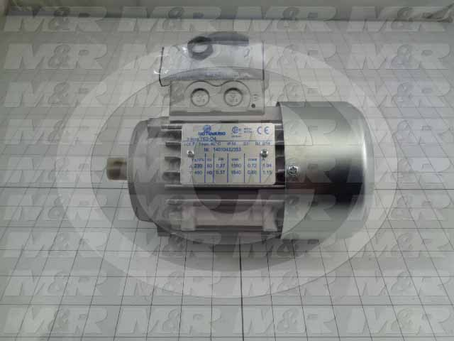AC Motor, 0.37KW, IEC 63B14 Frame, 230VAC, 3 Phase, 60Hz, 14mm Shaft
