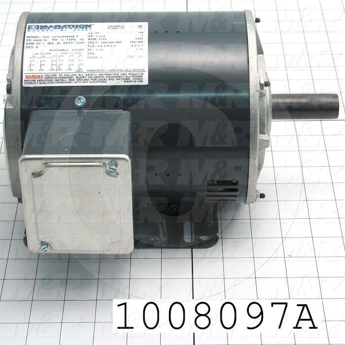 AC Motor, 1HP/1.5HP, 143T Frame, 1425/1725 RPM, 190/380-230/460VAC, 3 Phase, 50/60Hz