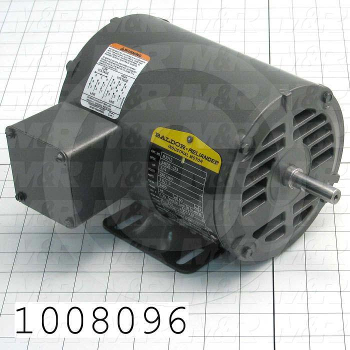 AC Motor, 3/4HP, 3450 RPM, 208-230/460VAC, 60Hz