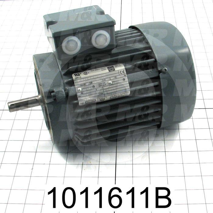 AC Motor, 3/4HP, B14 Frame, 1200 RPM, 230/460VAC, 3 Phase, 60Hz, 6 Poles
