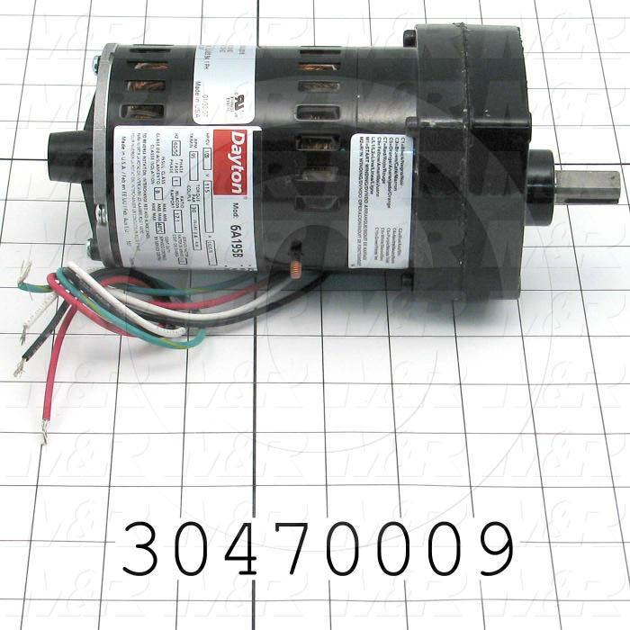 "AC Motor, Parallel Shaft, 1/20HP, 95 RPM, 115VAC, 1 Phase, 50/60Hz, 0.30, None Junction Box, 1/2""X 1.00"" Shaft"