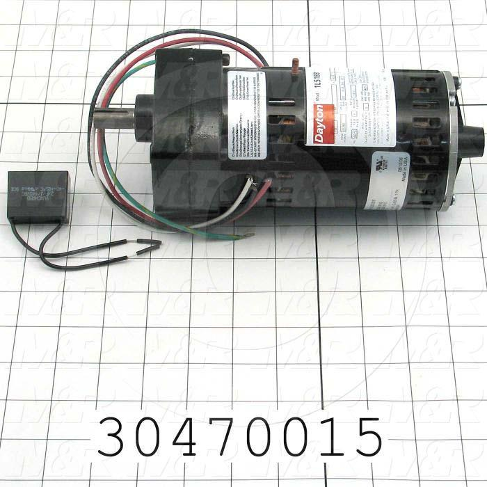 "AC Motor, Parallel Shaft, 1/20HP, 95 RPM, 230VAC, 1 Phase, 50/60Hz, 0.30, None Junction Box, 1/2""X 1.00"" Shaft"