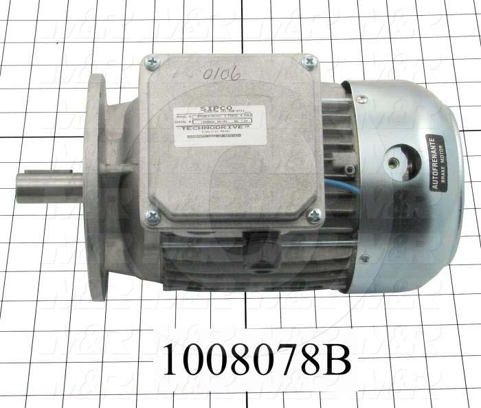 AC Motor, With Brake, 1.5HP, 208-230VAC, 3 Phase, 50/60Hz