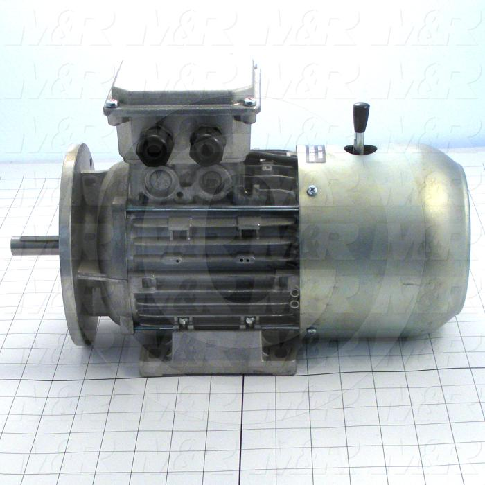 AC Motor, With Brake, 1HP, 208-230VAC, 3 Phase, 105VDC Brake Coil Voltage