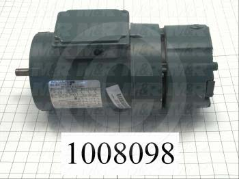 AC Motor, With Brake, 1HP, 56C Frame, 1750 RPM, 208-230/460VAC, 3 Phase, 60Hz