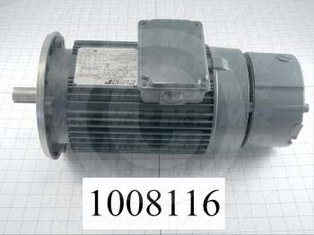 AC Motor, With Brake, 3HP, 1725 RPM, 208/220/440VAC, 3 Phase, 115/230V Brake Coil Voltage