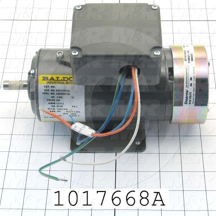 AC Motor, With DC Brake, 0.2KW, 208-230VAC, 3 Phase, 50/60Hz, 4 Poles