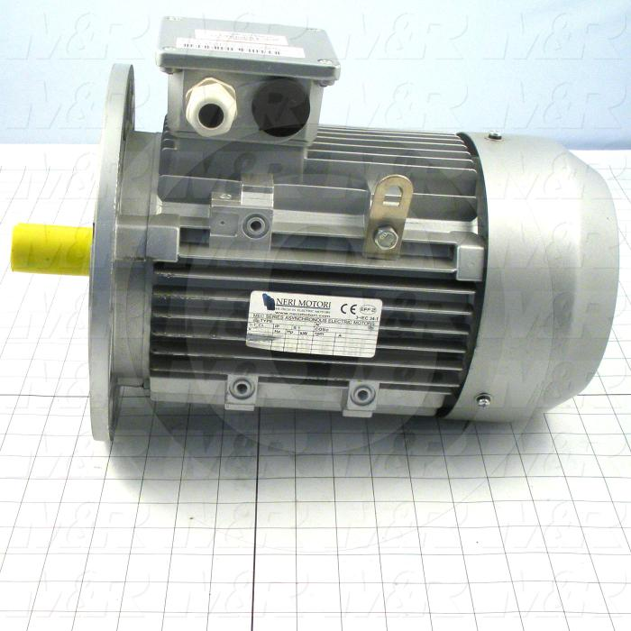 AC Motor, With DC Brake, 3HP, 1725 RPM, 230VAC, 3 Phase, 95VDC Brake Coil Voltage