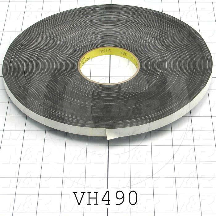 "Adhesives & Seals, Vinyl Foam Tape, 0.50"" Width, 0.063"" Thickness, Vinyl Material, Adhesive On Both Sides., Black Color"