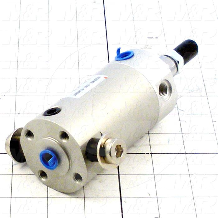"Air Cylinders, Rod Type, 5/16-24 UNF Rod Thread, Double Acting Model, 50 mm Bore, 1"" Stroke, Urethane Bumper, Rear Port Cylinder Function"