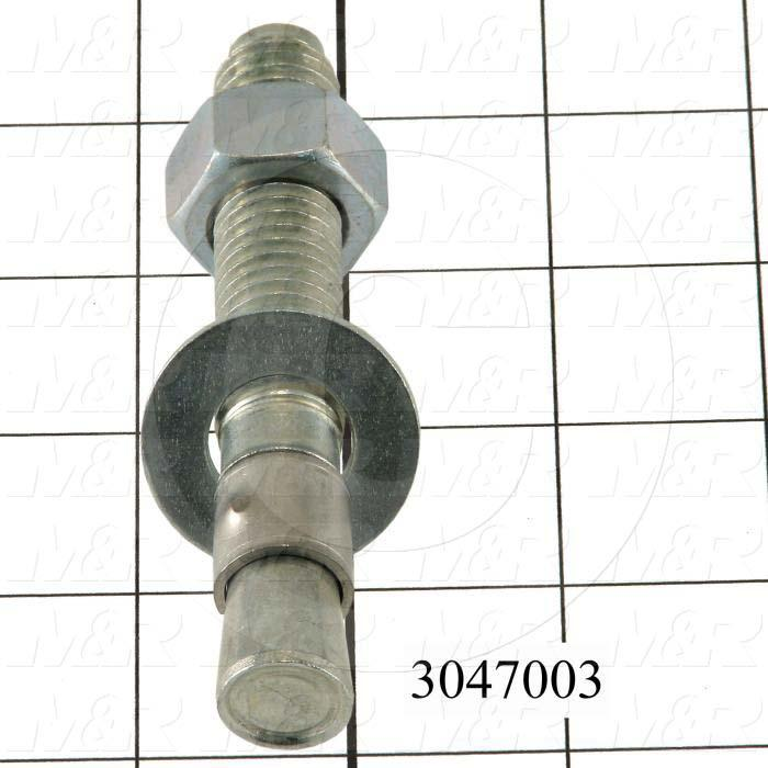 Anchor, Type : Sleeve Stud Anchors for Concrete, Diameter 3/8 in., Length Under the Head 4-1/4 in., Material Steel