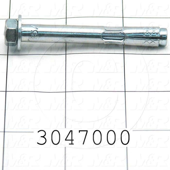 Anchor, Type : Sleeve Stud Anchors for Concrete, Diameter 5/16 in., Length Under the Head 2-1/2 in., Thread Size 1/4-20, Material Steel