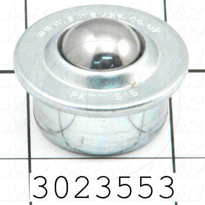 """Ball Transfer, Type : Press Fit, Ball Diameter 0.625"""", Ball Material Steel, Housing Material : Steel, Housing Diameter 1.218"""", Height 1.31 in., Load Capacity 132 lbs"""