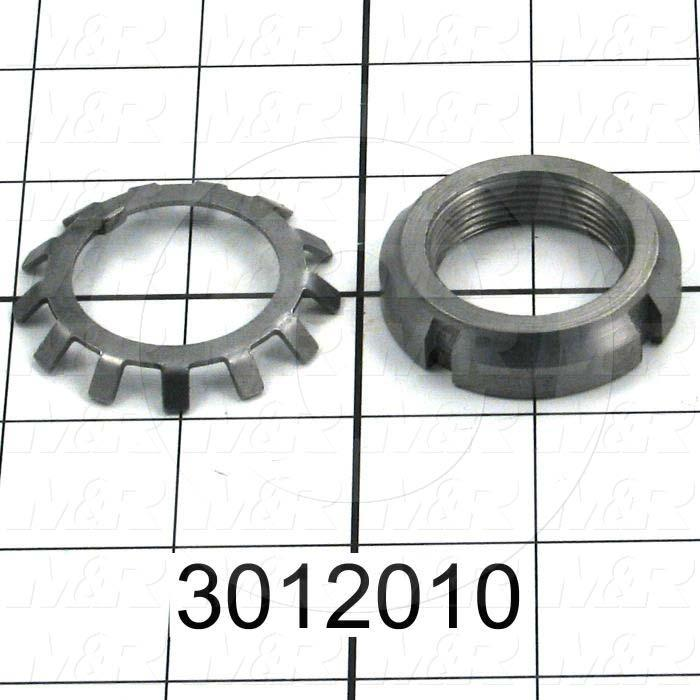 "Bearing Locknuts, Type N-06, Come with Lock Washer W-06, Shaft Diameter 1.1811"", Thread Diameter 1.1730"", Thread Per Inch 18, Outside Diameter 1.75"", Thickness 0.406"""