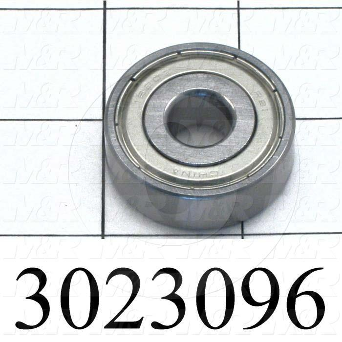 "Bearings, Radial Ball, 0.50 in. Inside Diameter, 1.375"" Outside Diameter, 0.44"" Width, Double Shielded, Steel Material"