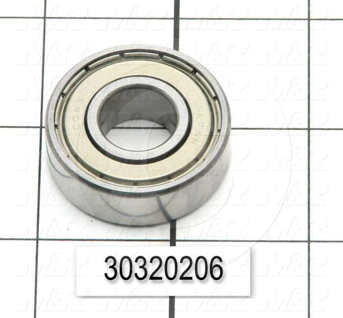 "Bearings, Radial Ball, 0.563"" Inside Diameter, 1.375"" Outside Diameter, 0.44"" Width, Double Shielded, Steel Material"