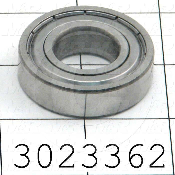 "Bearings, Radial Ball, 0.75 in. Inside Diameter, 1-5/8 in. Outside Diameter, 7/16"" Width, Double Shielded, Steel Material"
