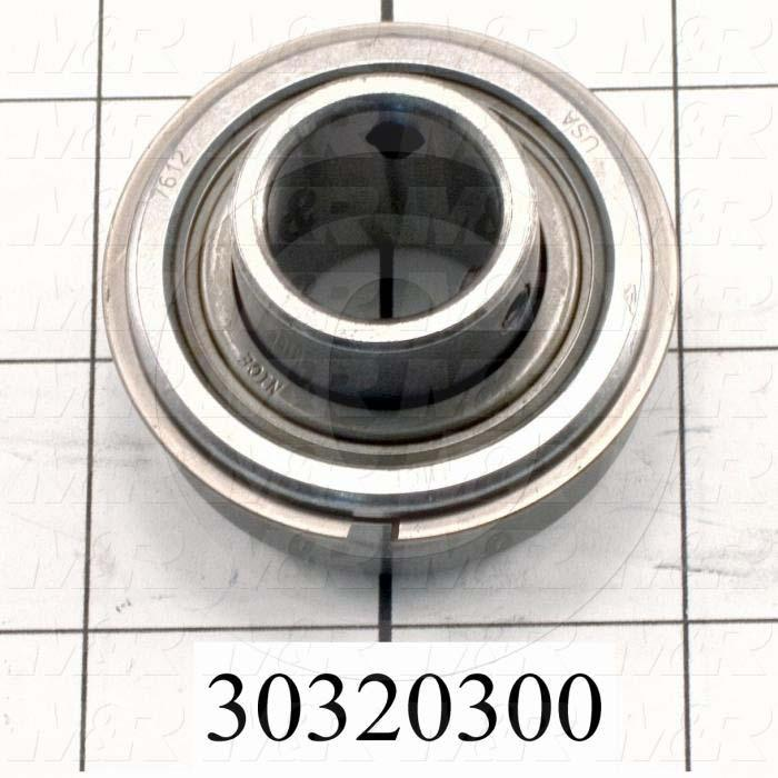 "Bearings, Radial Ball with Snap Ring, 0.75 in. Inside Diameter, 1.75"" Outside Diameter, 0.63"" Width, Double Shielded, With Extended Inner Ring, Steel Material"