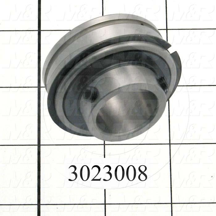 "Bearings, Radial Ball with Snap Ring, 1.00"" Inside Diameter, 2.265"" Outside Diameter, 1.38"" Width, Double Sealed, Steel Material"