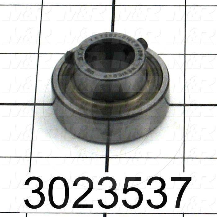 "Bearings, Radial Ball Y-Type with Set Screw, 15.875mm ( 0.625"") Inside Diameter, 40 mm Outside Diameter, 22.5 mm Width, Double Shielded"