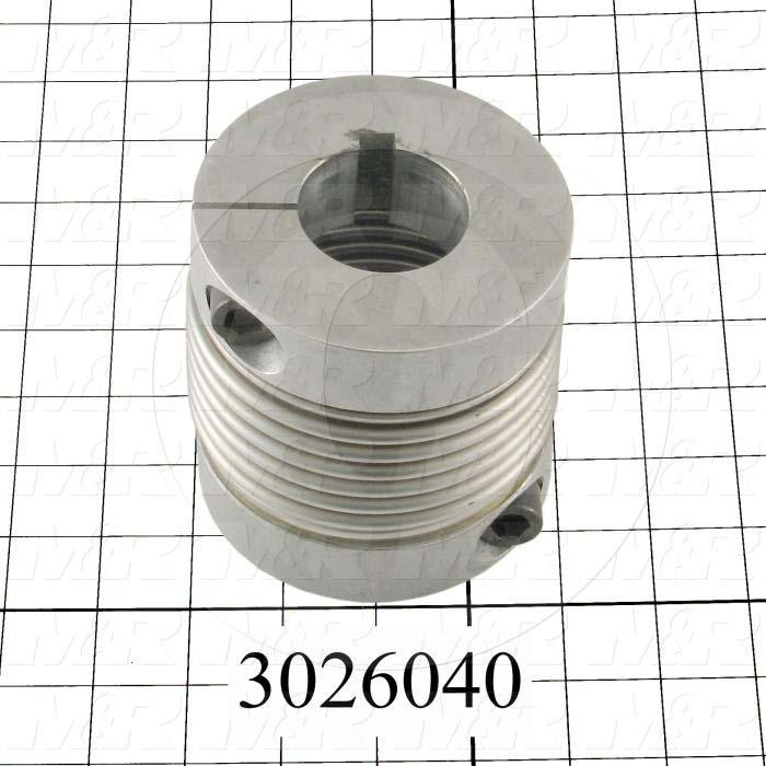 "Bellows Coupling, 1-3/4"" Hub # 1 Bore, 3.98"" Hub # 1 Outer Diameter, 35 MM Hub # 2 Bore, Clamp, 3.94"" Overall Length, 3.98"" Bellow Diameter, Steel Bellows  Material"