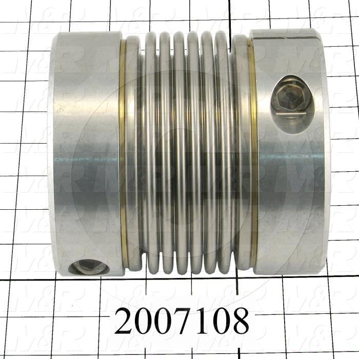 "Bellows Coupling, 2.00"" Hub # 1 Bore, 70 mm Hub # 2 Bore, Keyway / Clamp, 5.63"" Overall Length, 5.24"" Bellow Diameter, Stainless Steel Bellows  Material, Aluminum Hub"