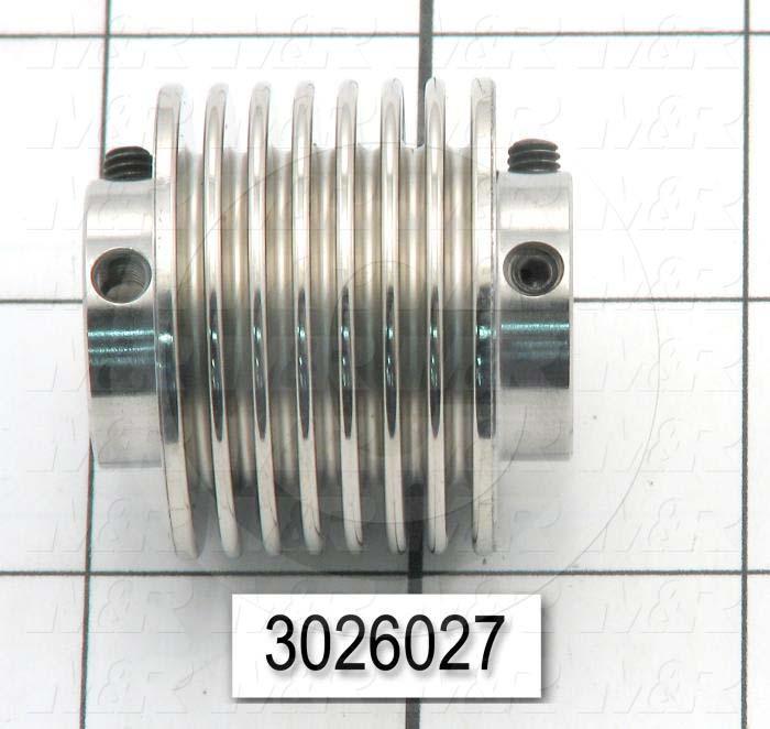 "Bellows Coupling, 3/8"" Hub # 1 Bore, 0.75"" Hub # 1 Outer Diameter, 3/8"" Hub # 2 Bore, Set Screw, 1.51"" Overall Length, 1,51"" Bellow Diameter, Steel Bellows  Material"