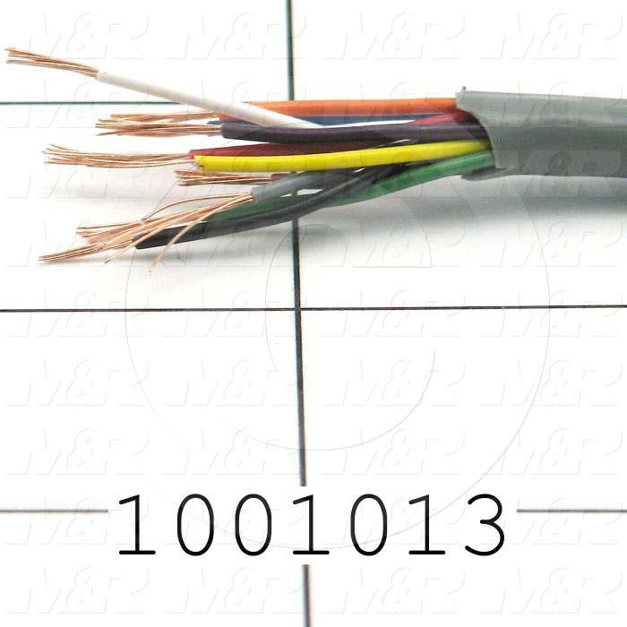 Bulk Cable, 10 Conductors, 22AWG, Shielded, PVC