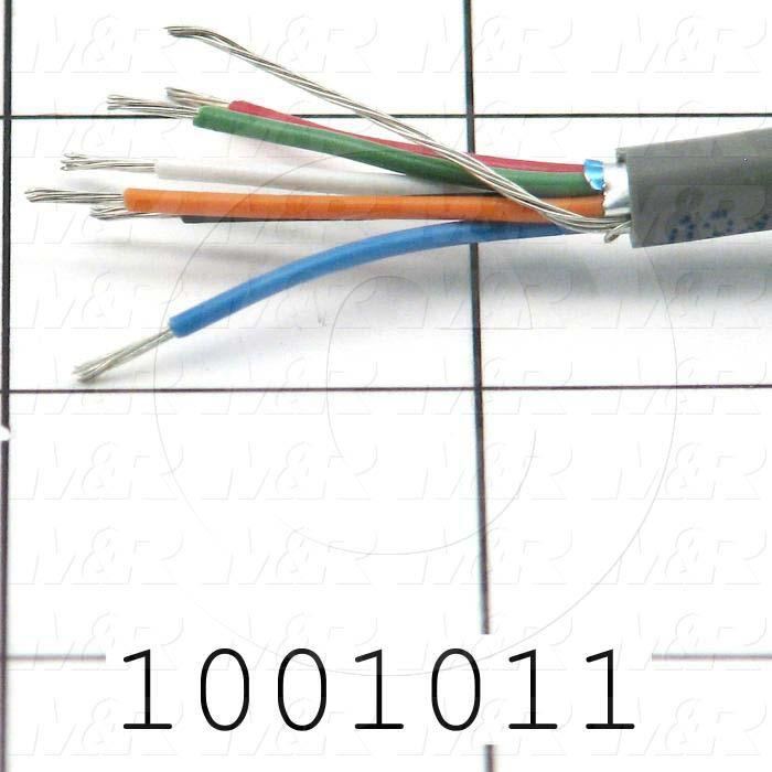 Bulk Cable, 6 Conductors, 22AWG, Shielded, PVC
