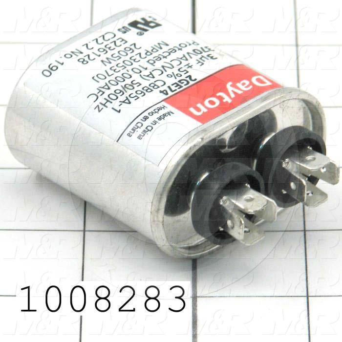 Capacitor, 3MFD, 370VAC, 4-blade Quick-connect Insulated Terminals