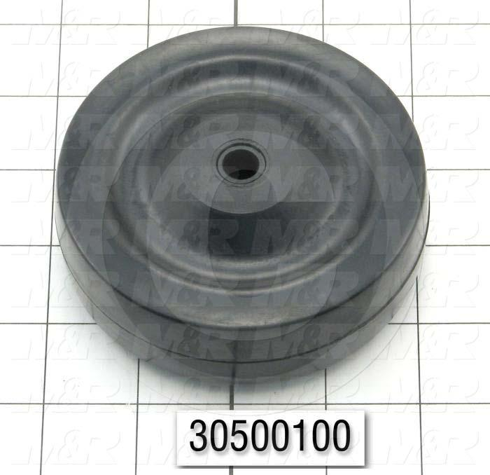"Casters and Wheels, Axle Mounting, 4.00 in. Wheel Diameter, 1.25"" Wheel Width, Rubber Wheel Material"
