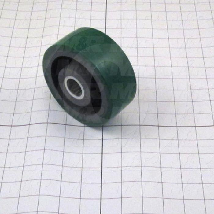 "Casters and Wheels, Axle Mounting, 5.00 in. Wheel Diameter, 2.00"" Wheel Width, 1.00"" Roller Bearing, Polyurethane Wheel Material"