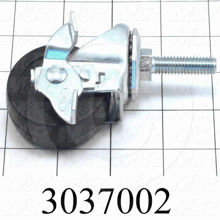 "Casters and Wheels, Locking Swivel Type, Threaded Stem Mounting, 2"" Wheel Diameter, Rubber Wheel Material, 3/8-16 Thread Size, 1.50"" Thread Length"
