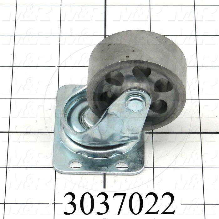 "Casters and Wheels, No Locking Swivel Type, Plate Mounting, 2"" Wheel Diameter, Metal Wheel Material"