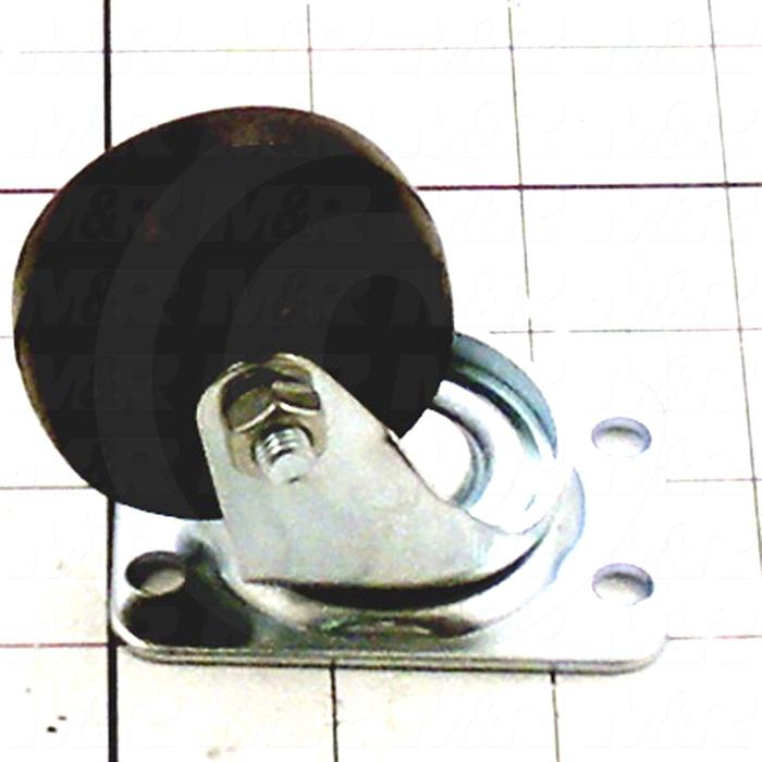 "Casters and Wheels, No Locking Swivel Type, Plate Mounting, 2"" Wheel Diameter, Rubber Wheel Material"