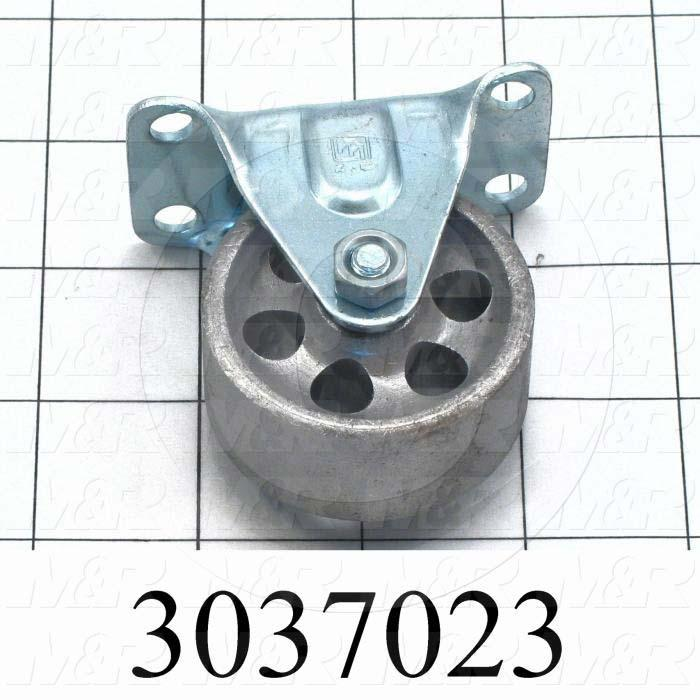 "Casters and Wheels, Rigid Type, Plate Mounting, 2"" Wheel Diameter, Metal Wheel Material"