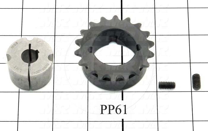 "Chain Sprocket, ANSI 35, 0.50"" Bore Size, 18 Teeth, 2.350"" Outside Diameter, Steel Material"