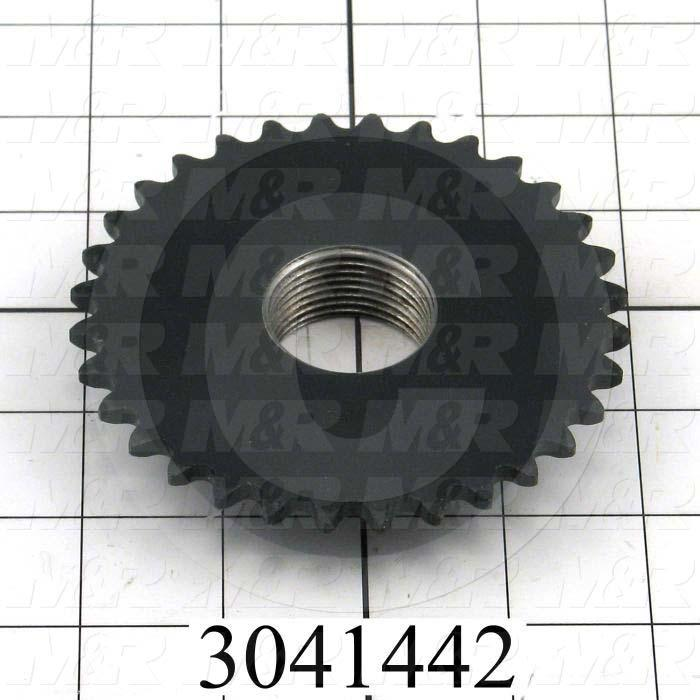 "Chain Sprocket, ANSI 35, B Sprocket Type, 0.50"" Bore Size, 32 Teeth, Single Strand, 4.03 in. Outside Diameter, 2.50"" Hub Diameter, 0.84"" Overall Length, Steel Material"