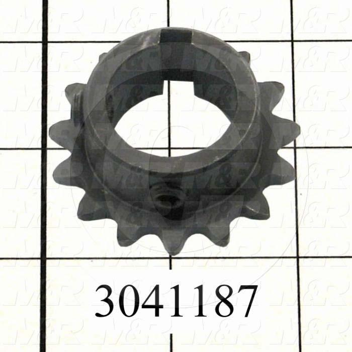 "Chain Sprocket, ANSI 35, B Sprocket Type, Cylindrical, 1 in. Bore Size, 15 Teeth, Single Strand, 1.80"" Outside Diameter, Steel Material"