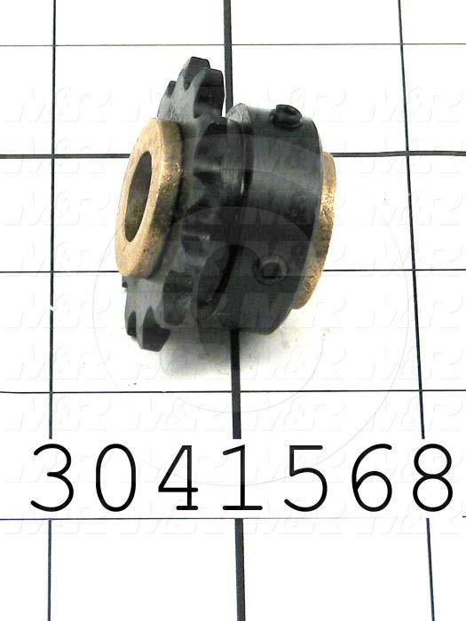 "Chain Sprocket, ANSI 35, B Sprocket Type, Cylindrical, 12 Teeth, Single Strand, 1.45"" Outside Diameter"