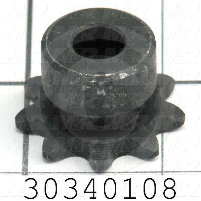 "Chain Sprocket, ANSI 35, B Sprocket Type, Cylindrical, 3/8 in. Bore Size, 9 Teeth, 1.256"" Outside Diameter, Steel Material"