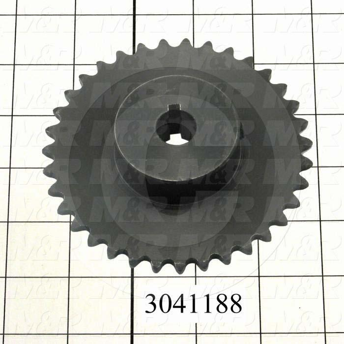 "Chain Sprocket, ANSI 35, B Sprocket Type, Cylindrical with Keyway, 0.63 in. Bore Size, 35 Teeth, Single Strand, 4.18"" Outside Diameter, Steel Material"