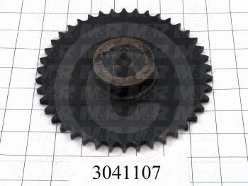 "Chain Sprocket, ANSI 40, B Sprocket Type, 0.63 in. Bore Size, 42 Teeth, Single Strand, 6.980"" Outside Diameter, 3.50"" Hub Diameter, 1.13"" Overall Length, Steel Material"