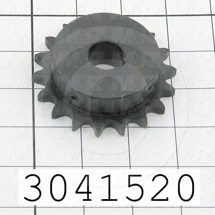 "Chain Sprocket, ANSI 40, B Sprocket Type, 0.75"" Bore Size, 18 Teeth, Single Strand, 3.140"" Outside Diameter, 2.31"" Hub Diameter, 2.31"" Overall Length, Steel Material"