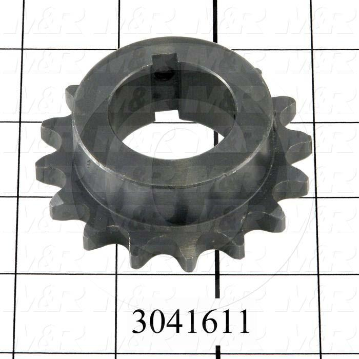 "Chain Sprocket, ANSI 40, B Sprocket Type, 1.25"" Bore Size, 16 Teeth, Single Strand, 2.810"" Outside Diameter, 2.00 in. Hub Diameter, 0.88 in. Overall Length, Steel Material"