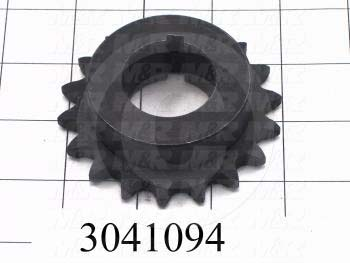 "Chain Sprocket, ANSI 40, B Sprocket Type, 1.25"" Bore Size, 18 Teeth, Single Strand, 3.140"" Outside Diameter, 2.31"" Hub Diameter, 1.00"" Overall Length, Steel Material"
