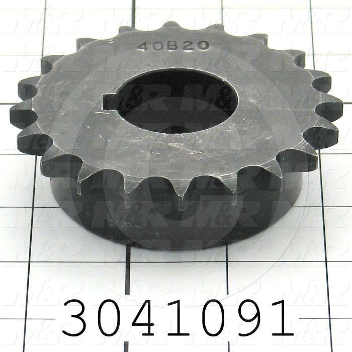"Chain Sprocket, ANSI 40, B Sprocket Type, 1.25"" Bore Size, 20 Teeth, Single Strand, 3.460"" Outside Diameter, 1.56"" Hub Diameter, 1.00"" Overall Length, Steel Material"