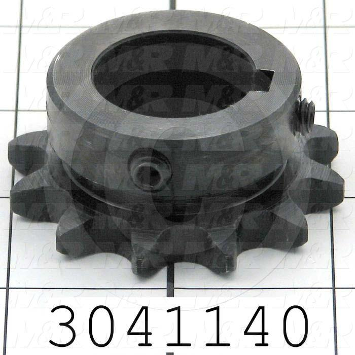 "Chain Sprocket, ANSI 40, B Sprocket Type, 1 in. Bore Size, 12 Teeth, Single Strand, 2.17"" Outside Diameter, 1.44"" Hub Diameter, 0.88 in. Overall Length, Steel Material"